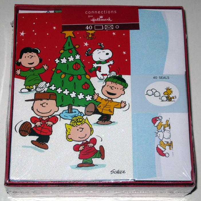 Peanuts Gang dancing around Tree Christmas Cards - CollectPeanuts.com