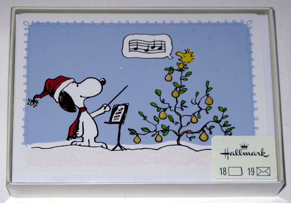 Snoopy & Woodstock in a pear tree Christmas Cards - CollectPeanuts.com