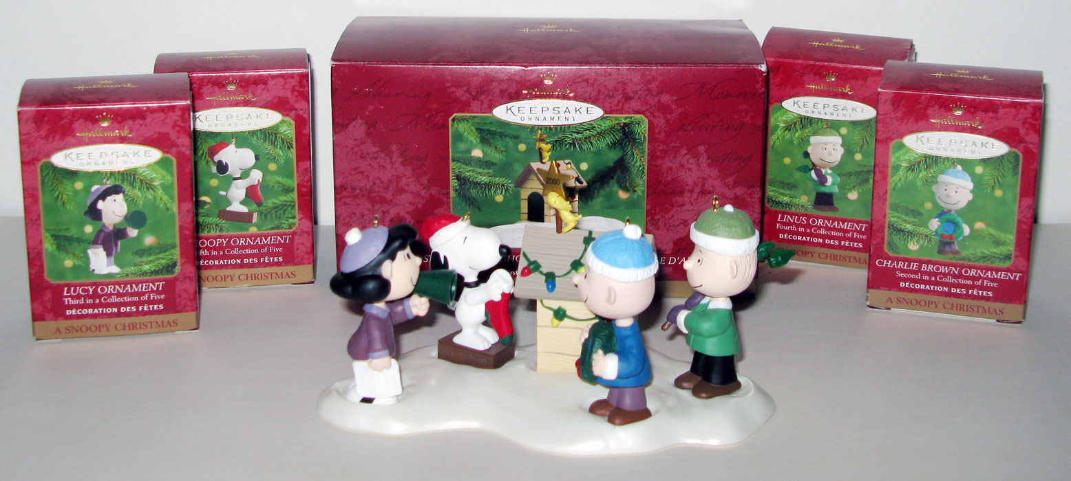 a snoopy christmas ornament set of 5 - Snoopy Christmas Ornament