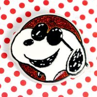 Joe Cool on red glitter background Button