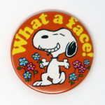 Snoopy kneeling with flowers 'What a Face!' Mini Mirror