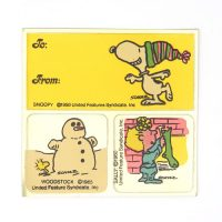 Snoopy, Woodstock And Sally Stickers & Gift Tag