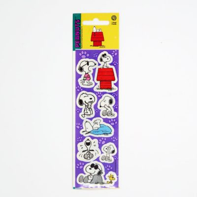 Snoopy & Woodstock on paw print background Stickers