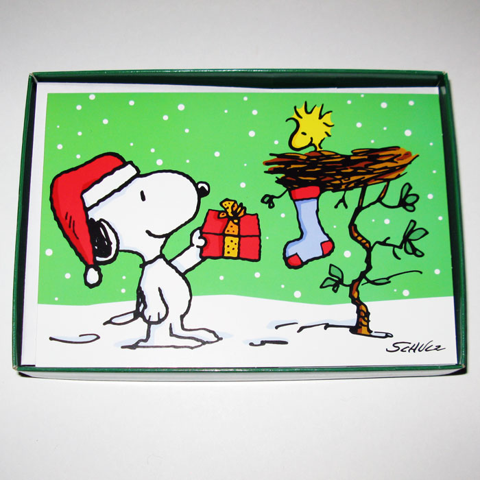 Snoopy giving gift to Woodstock Christmas Cards - CollectPeanuts.com