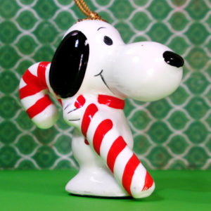 Snoopy sitting holding wreath Christmas Ornament