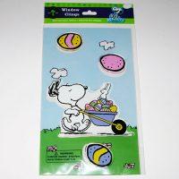 Snoopy with Wheelbarrow of Easter Eggs Window Gel Cling