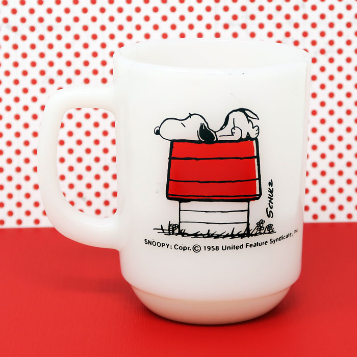 Snoopy 'Allergic to Mornings' Milk Glass Mug