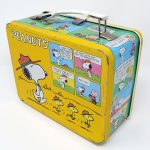 Snoopy and Charlie Brown Yellow Comic Metal Lunch Box