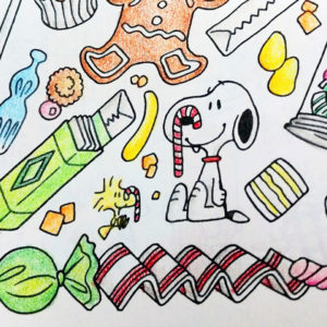 Peanuts Christmas Candy Coloring Page