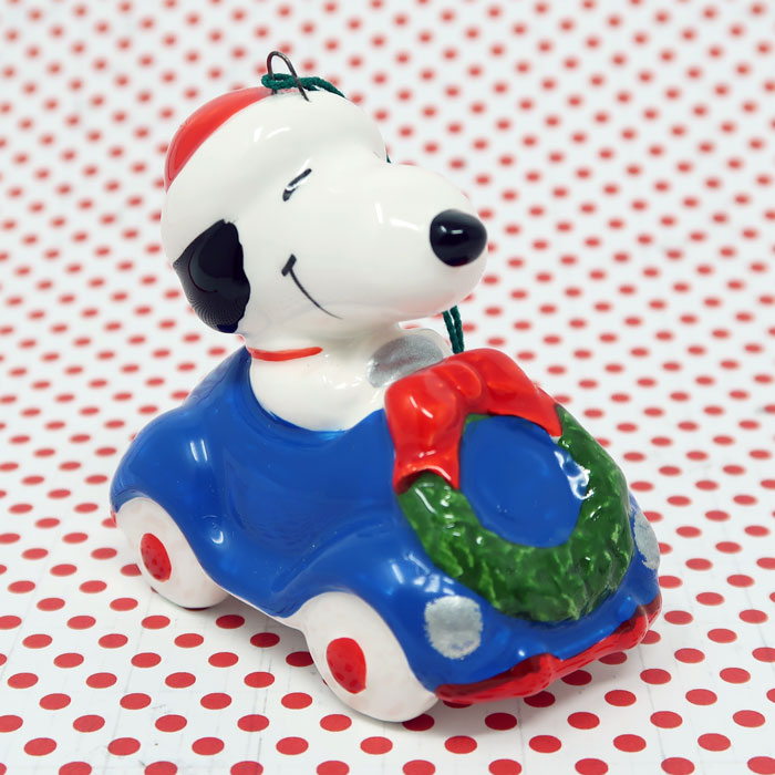 Snoopy in Car Ceramic Christmas Ornament