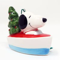 Snoopy in Boat Ceramic Christmas Ornament