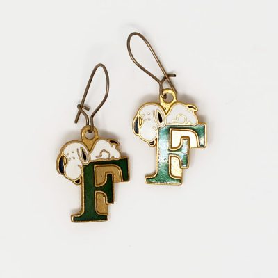 Snoopy laying on the letter F Earrings