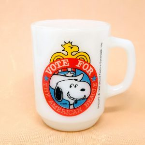 Snoopy Vote for the American Beagle Milk Glass Mug