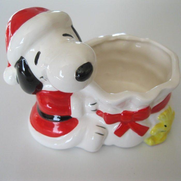 Santa Snoopy Christmas Planter