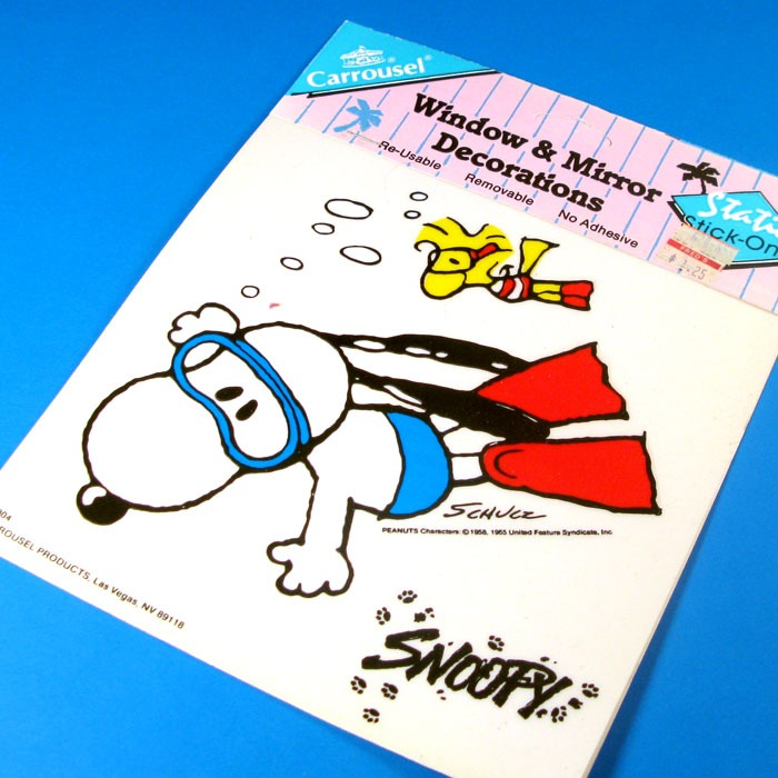 Snoopy and Woodstock diving Window Cling