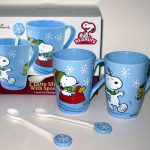 Snoopy & Woodstock Winter Latte Mugs Set with Spoons