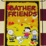 Peanuts Gang dancing in leaves 'Gather Friends' Mini Flag