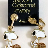 Snoopy with Tennis Racket Clip-on Earrings