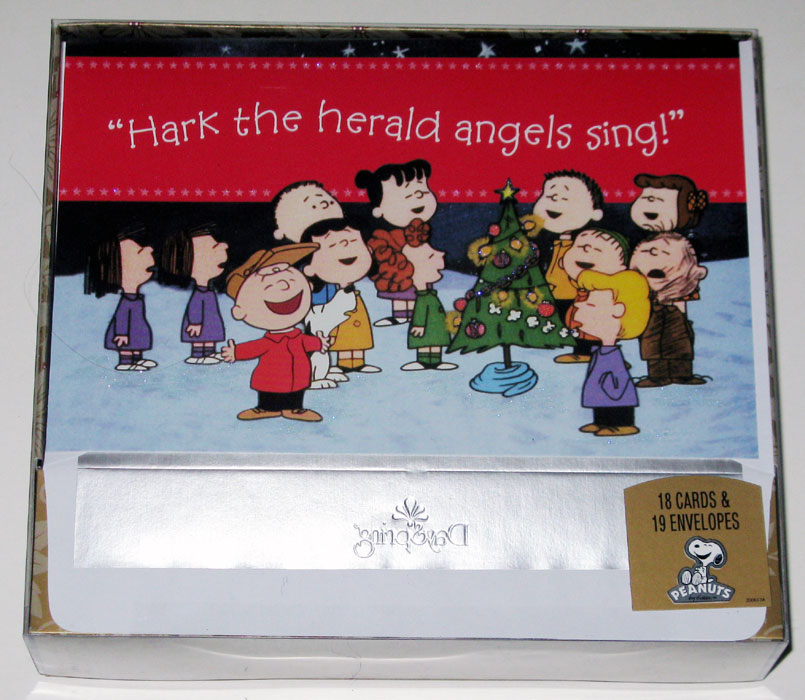 Peanuts Gang around Christmas Tree Christmas Cards - CollectPeanuts.com