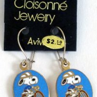 Snoopy riding bike Earrings