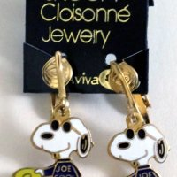 Snoopy Joe Cool with Frisbee Clip-on Earrings
