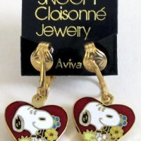 Snoopy & Woodstock with heart Clip-on Earrings