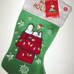 Snoopy & Woodstock on light decorated doghouse Christmas Stocking