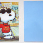 Snoopy Joe Cool and Woodstock leaning on school Greeting Card