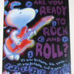 Snoopy with guitar 10-year-old Birthday Greeting Card