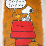 Snoopy & Woodstock on doghouse Thanksgiving Greeting Card
