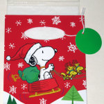 Snoopy driving Woodstock sleigh Gift Card Gift Bag