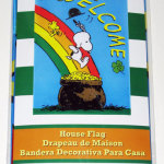 Snoopy & Woodstock sliding down rainbow 'Welcome' St. Patrick's Day Large Decorative Flag