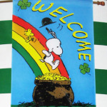 Snoopy & Woodstock on Rainbow St. Patrick's Day Large Flag