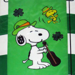 Snoopy Playing Violin St. Patrick's Day Mini Flag