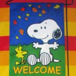 Snoopy & Woodstock With Leaves 'Welcome' Mini Flag