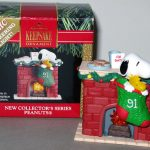 Snoopy and Woodstock in stocking by lighted fireplace Ornament