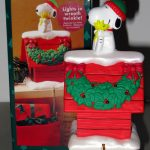 Snoopy and Woodstock on Doghouse with lighted wreath Stocking Holder