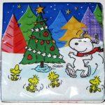 Snoopy & Woodstocks dancing around Christmas Tree Cocktail Napkins