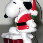 Santa Snoopy in Chimney Ornament