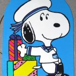 Snoopy sailor leaning on gift boxes Gift Tag