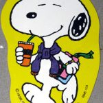 Snoopy drinking soda and holding books Gift Tag