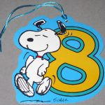 Snoopy dancing with number 8 Gift Tag
