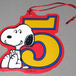 Snoopy sitting with number 5 Gift Tag