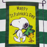 Snoopy With Shamrock St. Patrick's Day Mini Flag