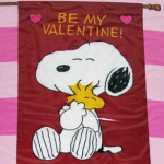 Snoopy Hugging Woodstock 'Be My Valentine' Large Flag