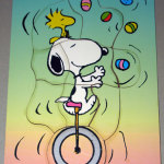 Snoopy riding unicycle and juggling eggs with Woodstock Tray Puzzle