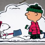 Snoopy and Charlie Brown shoveling snow Wood Ornament