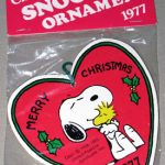 Snoopy hugging Woodstock in front of heart Wood Ornament