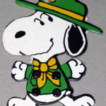 Snoopy beagle scout leader jointed cardboard Ornament