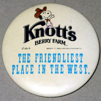 Knott's Berry Farm Cowboy Snoopy Button
